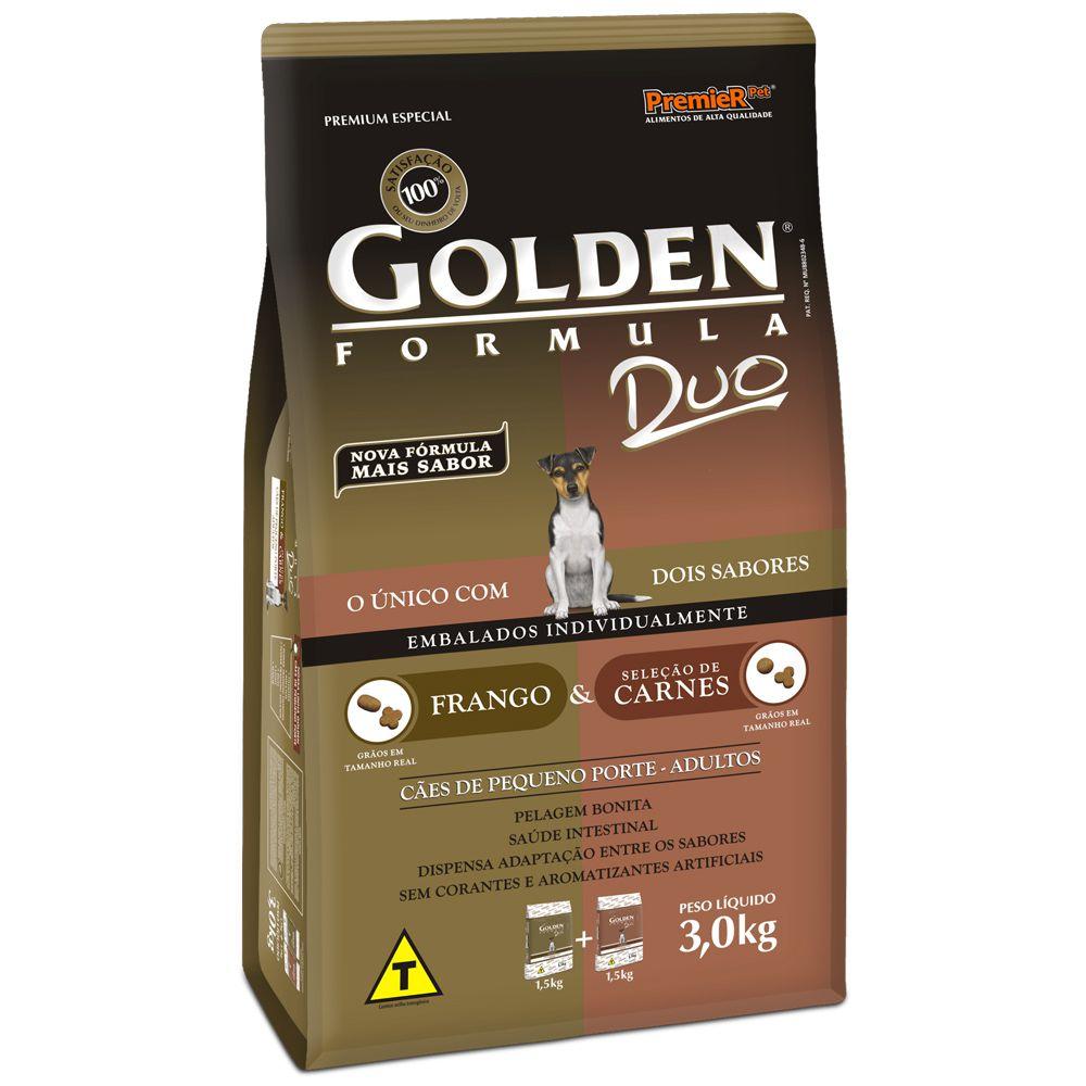 Ração Golden Cães Adultos Duo Mini Bits Frango e Carne 3kg