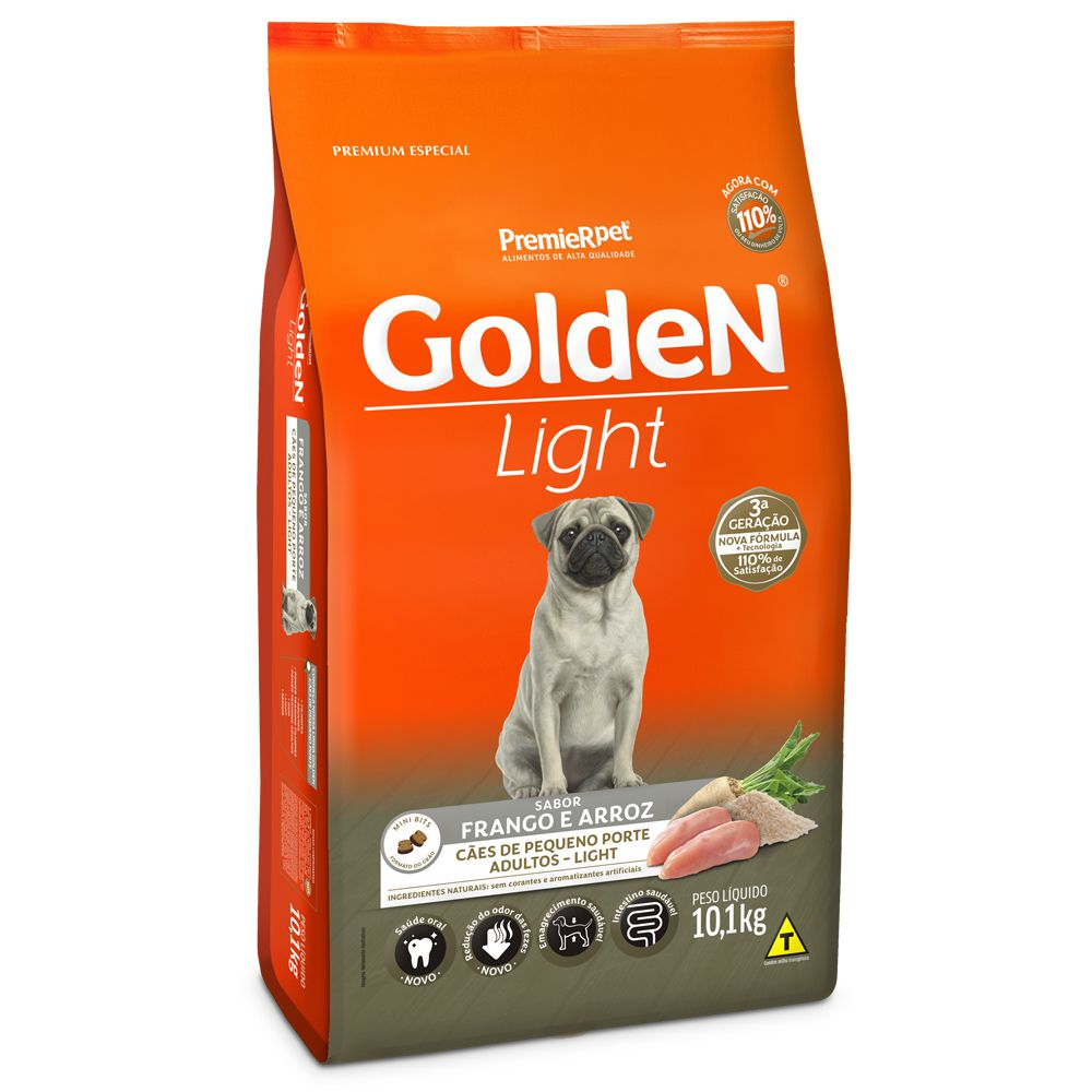 Ração Golden Cães Adultos Light Mini Bits Frango Arroz 10kg