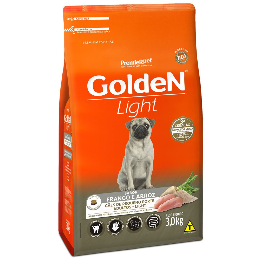 Ração Golden Cães Adultos Light Mini Bits Frango Arroz 3kg