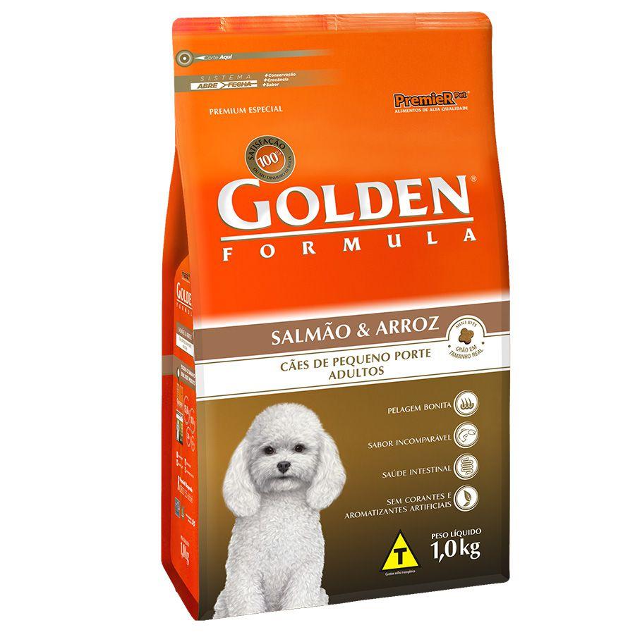 Ração Golden Cães Adultos Mini Bits sabor Salmão e Arroz 1kg