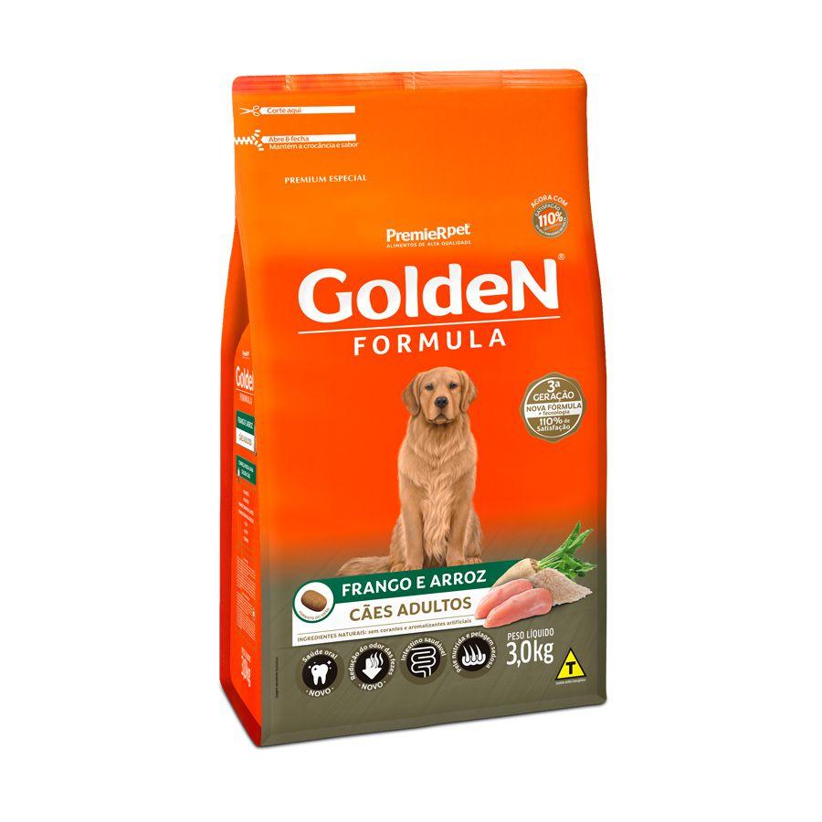 Ração Golden Cães Adultos sabor Frango e Arroz 3kg