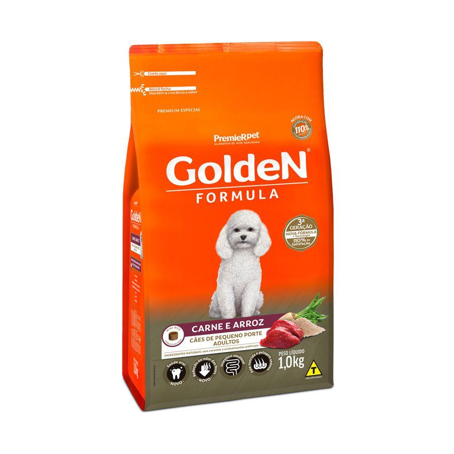 Ração Golden Carne Arroz Cães Adultos Raças Pequenas 1kg