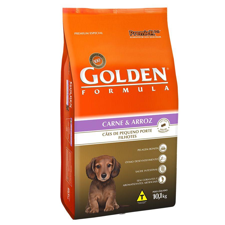 Ração Golden Carne e Arroz Cães Filhotes Raças Pequenas 10kg