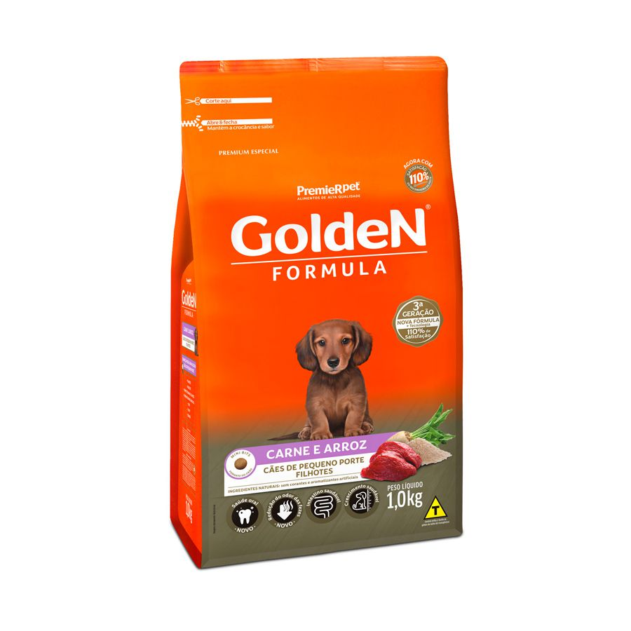 Ração Golden Carne e Arroz Cães Filhotes Raças Pequenas 1kg