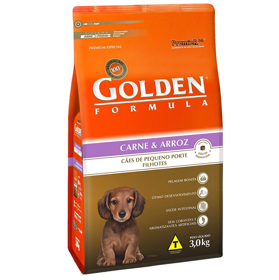 Ração Golden Carne e Arroz Cães Filhotes Raças Pequenas 3kg