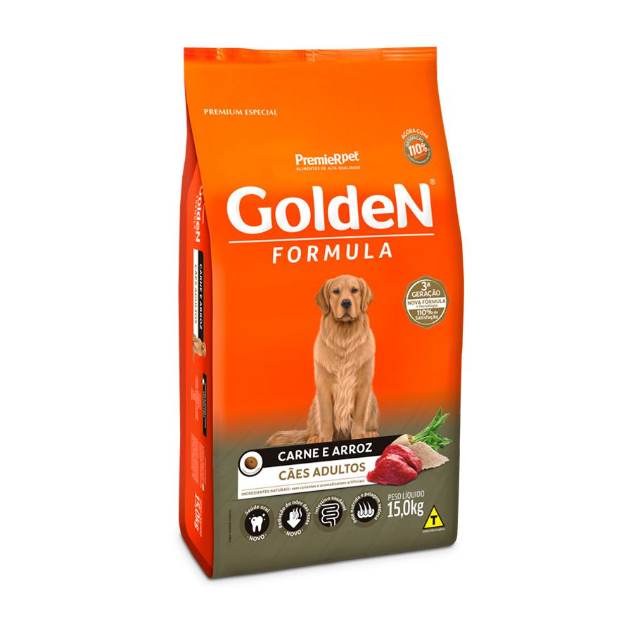 Ração Golden Formula Adultos sabor Carne e Arroz - 15kg