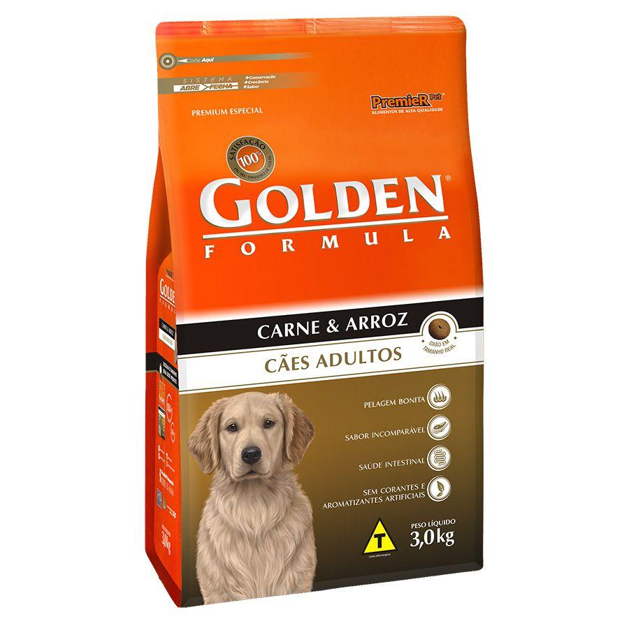 Ração Golden Formula Adultos sabor Carne e Arroz - 3kg