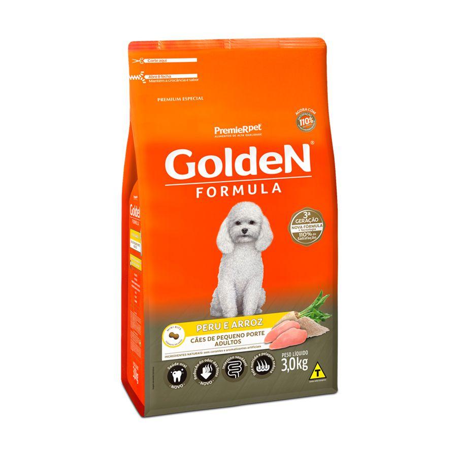 Ração Golden Formula Cães Adultos sabor Peru & Arroz Mini Bits 3kg