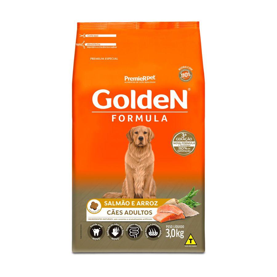 Ração Golden Fórmula para Cães Adultos sabor Salmão e Arroz 3kg