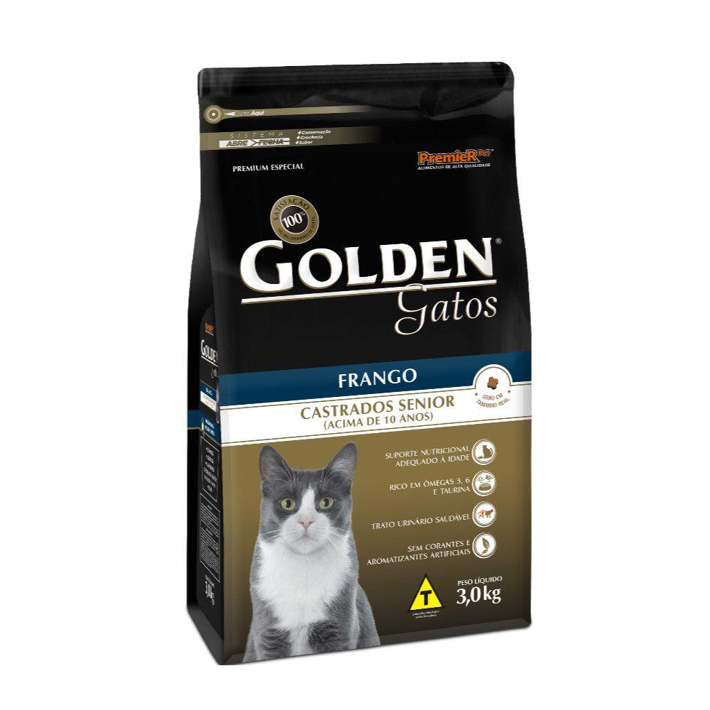 Ração Golden Gatos Castrados Senior Frango 3kg