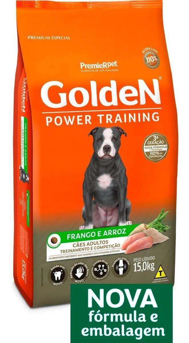 Ração Golden Power Training Cães Adultos Frango e Arroz 15kg