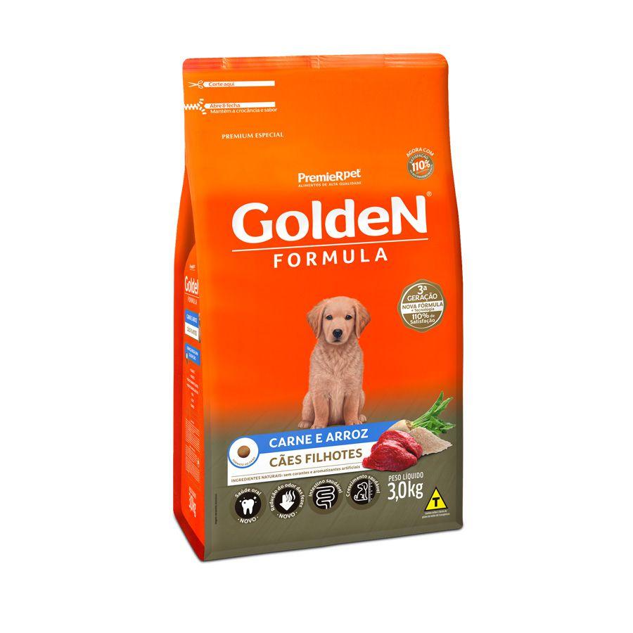 Ração Golden Premier Filhote para Cães sabor Carne e Arroz 3kg