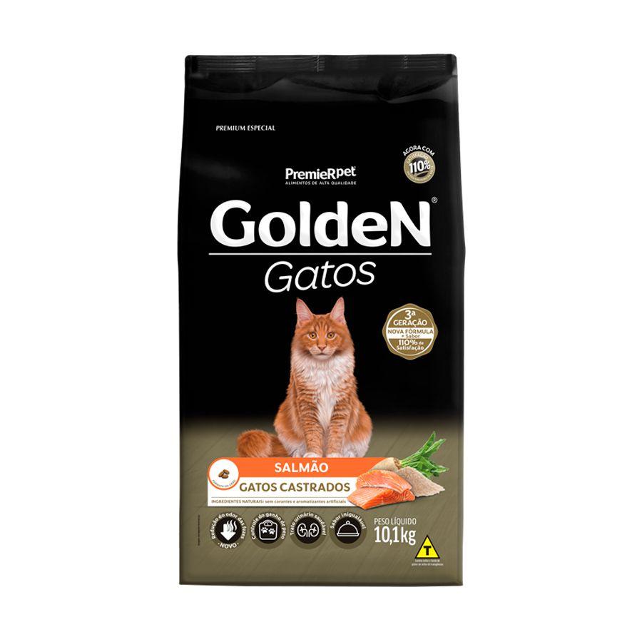 Ração Golden Premier para Gatos Adultos Castrados sabor Salmão 10,1kg
