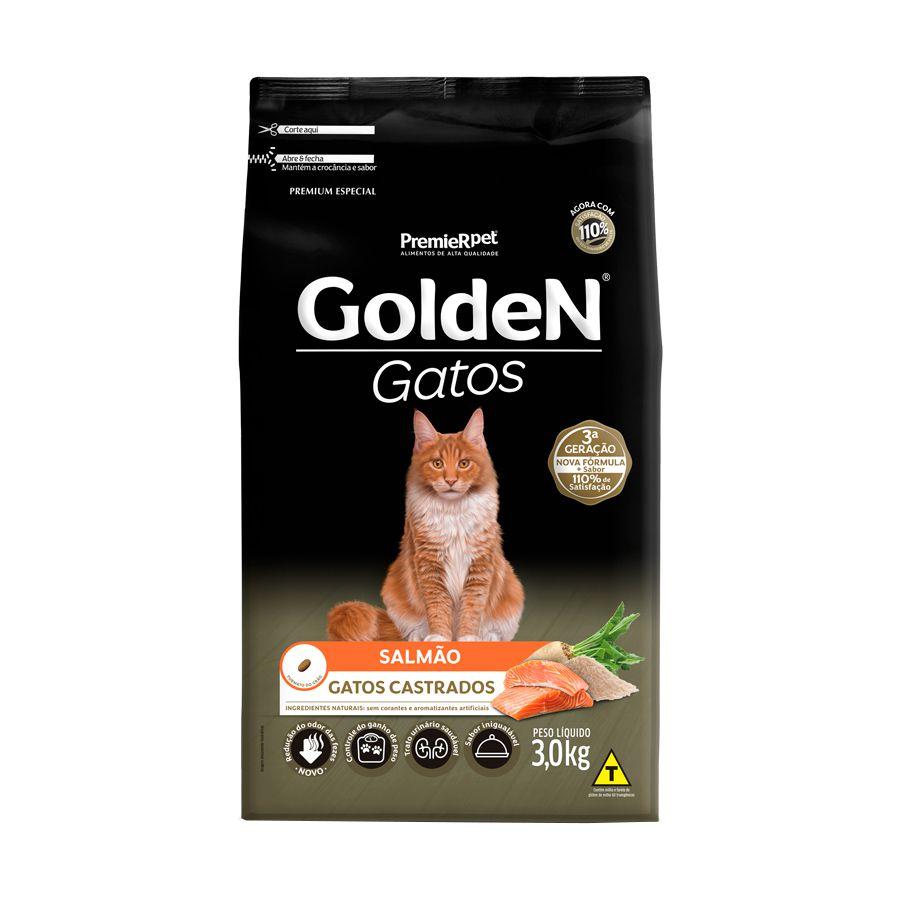 Ração Golden Premier para Gatos Adultos Castrados sabor Salmão 3kg