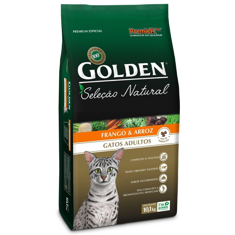 Ração Golden Seleção Natural Gatos Adultos sabor Frango & Arroz 10,1kg