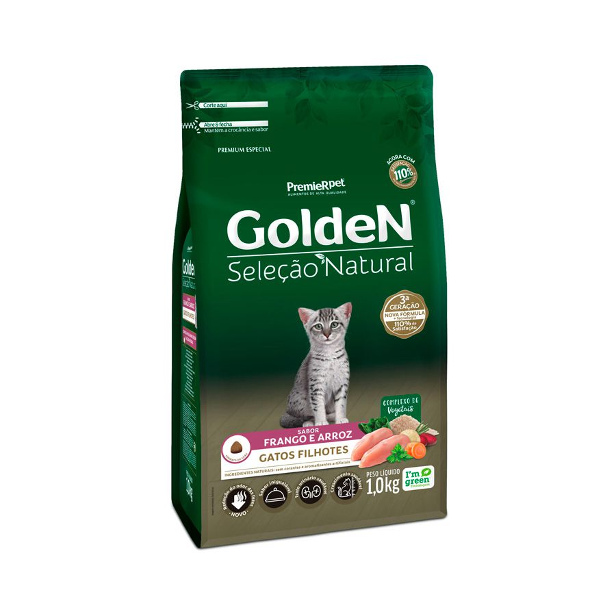 Ração Golden Seleção Natural Gatos Filhotes sabor Frango & Arroz 1kg