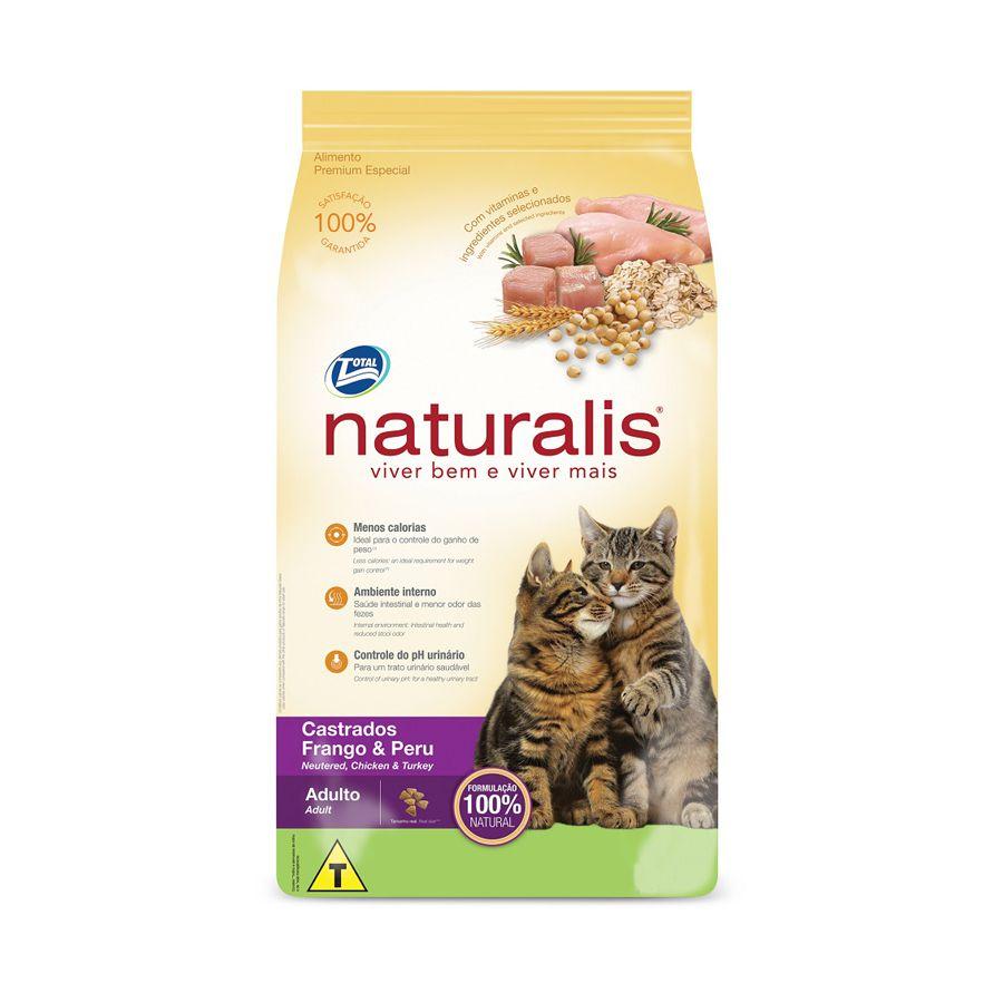 Ração Naturalis Gatos Adultos Castrados sabor Frango e Peru 1kg