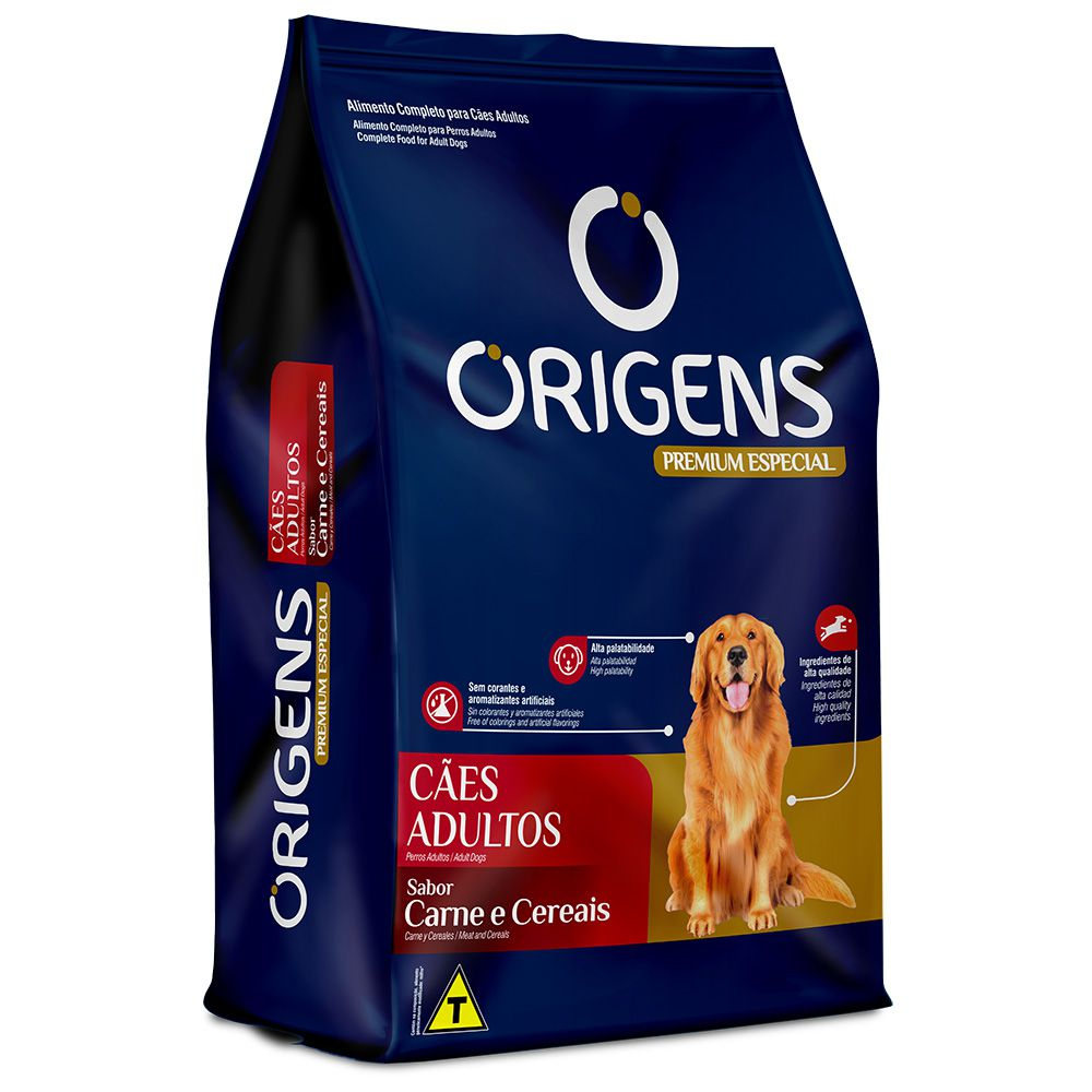 Ração Origens para Cães Adultos sabor Carne e Cereais 15kg