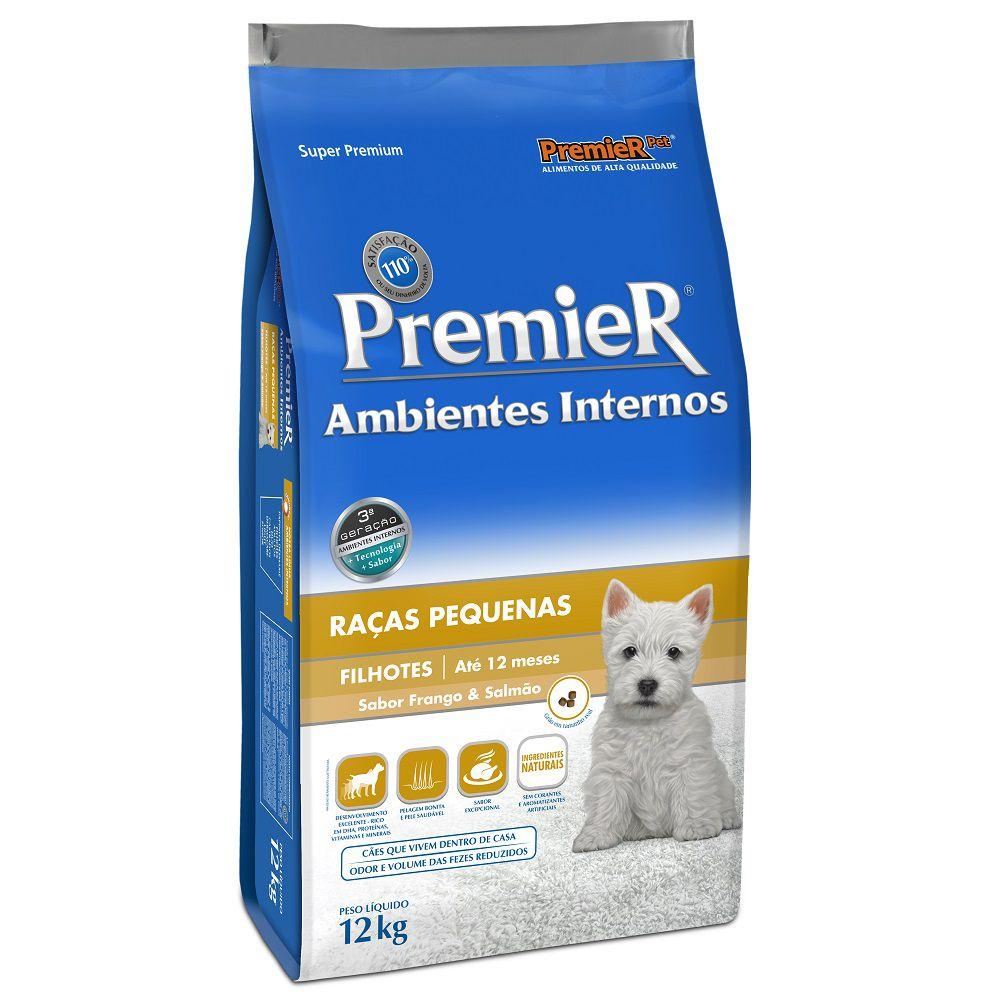 Ração Premier Ambientes Internos Cães Filhotes Sabor Frango & Salmão 12kg