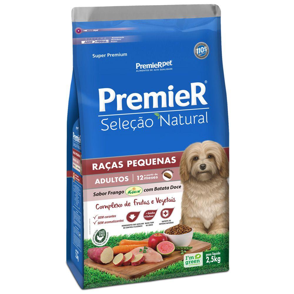 Ração Premier Cães Adulto Seleção Natural Sabor Frango Korin com Batata Doce 2,5kg