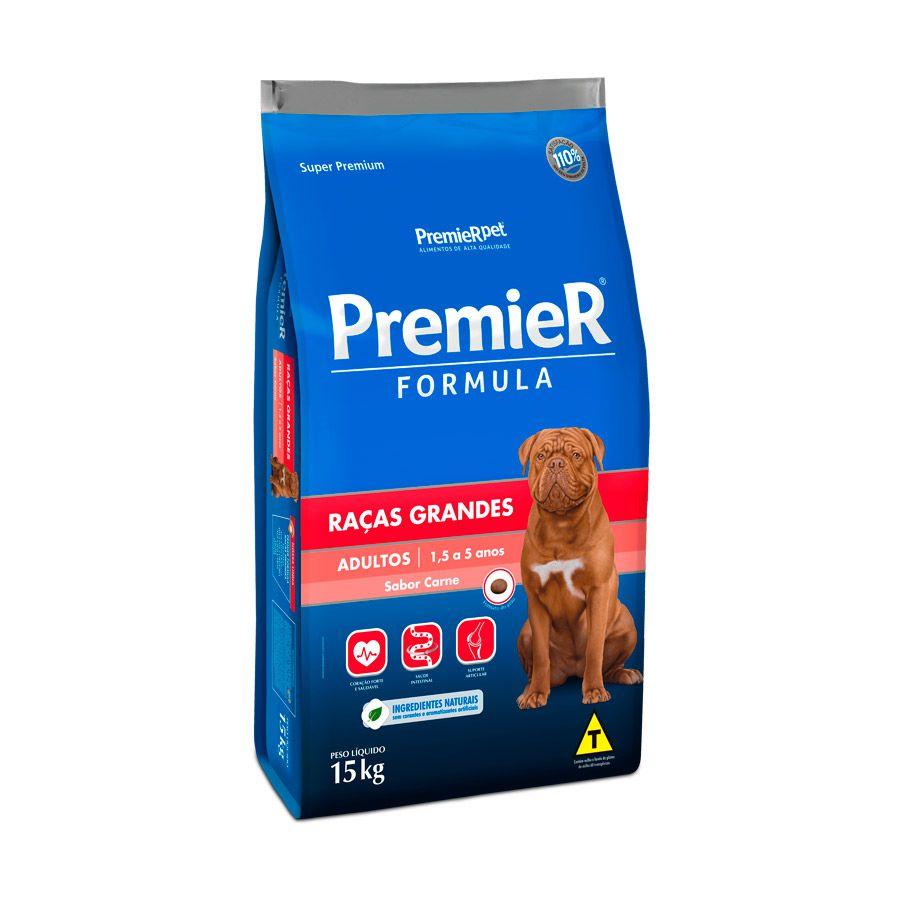 Ração Premier Cães Adultos de Raças Grandes sabor Carne 15kg