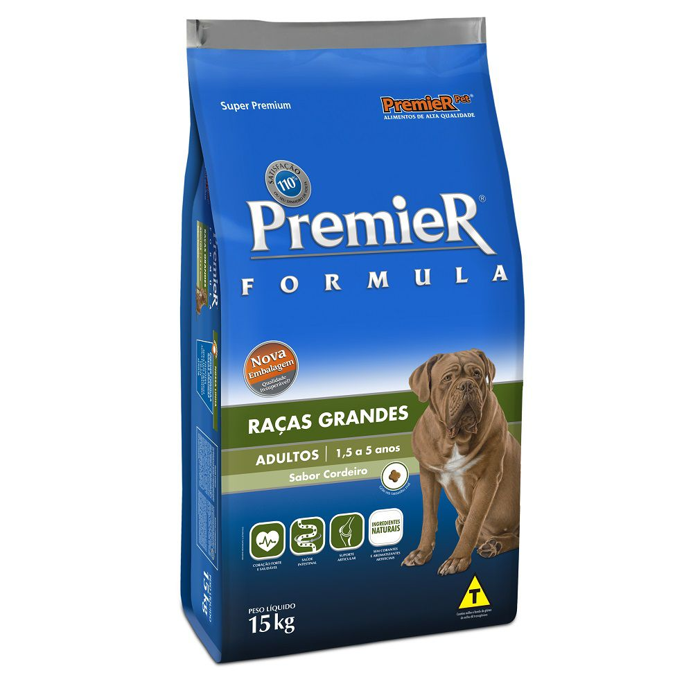 Ração Premier Cães Adultos de Raças Grandes Sabor Cordeiro 15kg