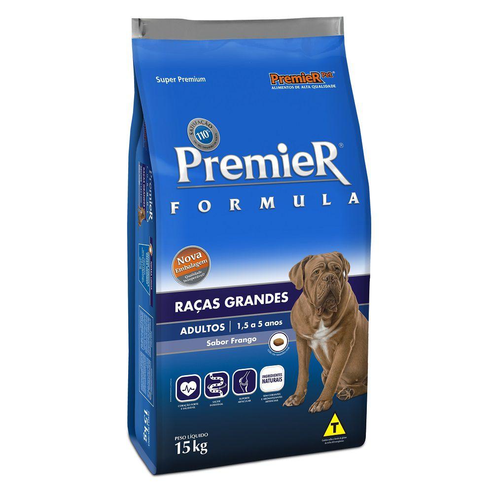 Ração Premier Cães Adultos de Raças Grandes Sabor Frango 15kg