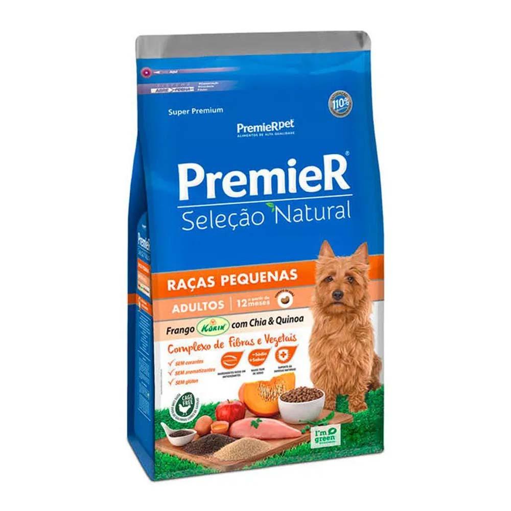 Premier Cães Seleção Natural Adultos Raças Pequenas sabor Frango Korin com Chia e Quinoa 1kg
