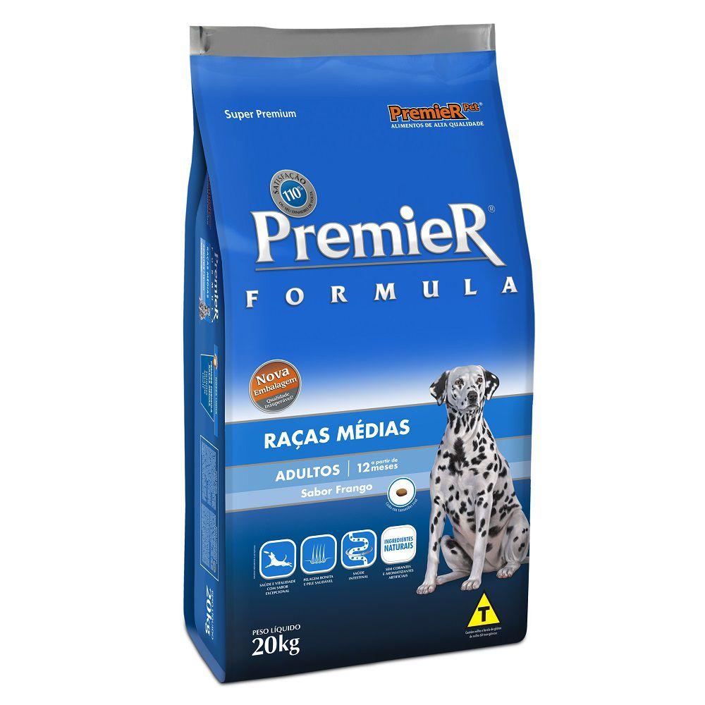 Ração Premier Cães Formula Raças Médias Adultos Sabor Frango 20kg
