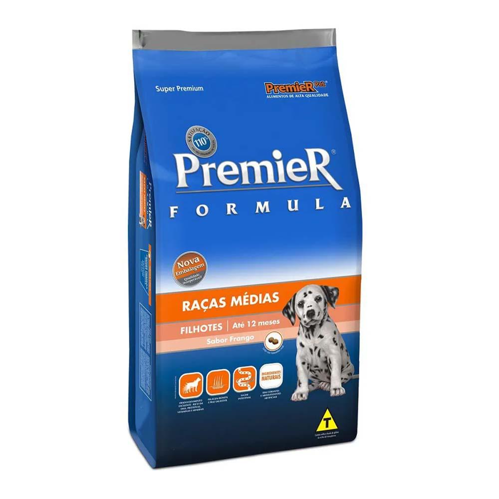Premier Cães Filhotes Raças Médias sabor Frango 20kg
