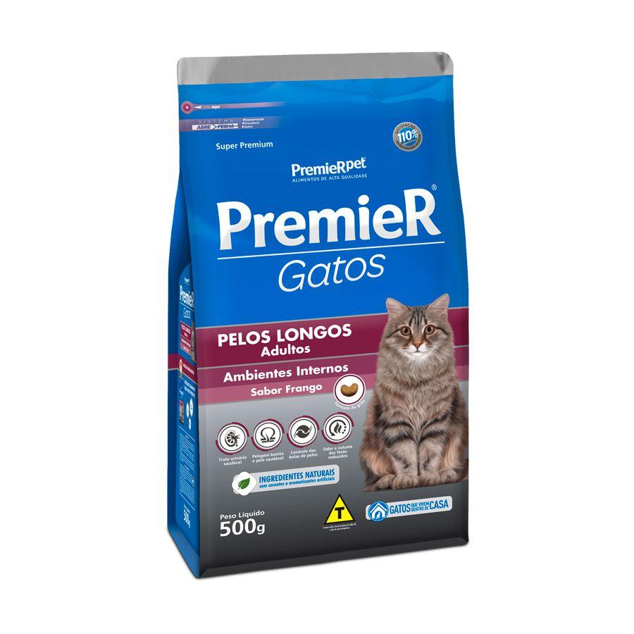 Ração Premier Gatos Adultos Ambientes Internos Pelos Longos Frango 500g