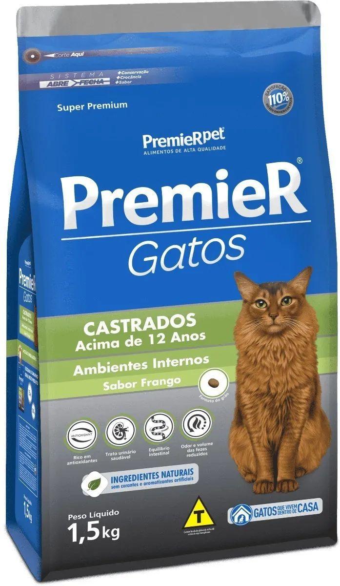 Ração Premier Gatos Castrados Frango Acima De 12 Anos 1,5kg