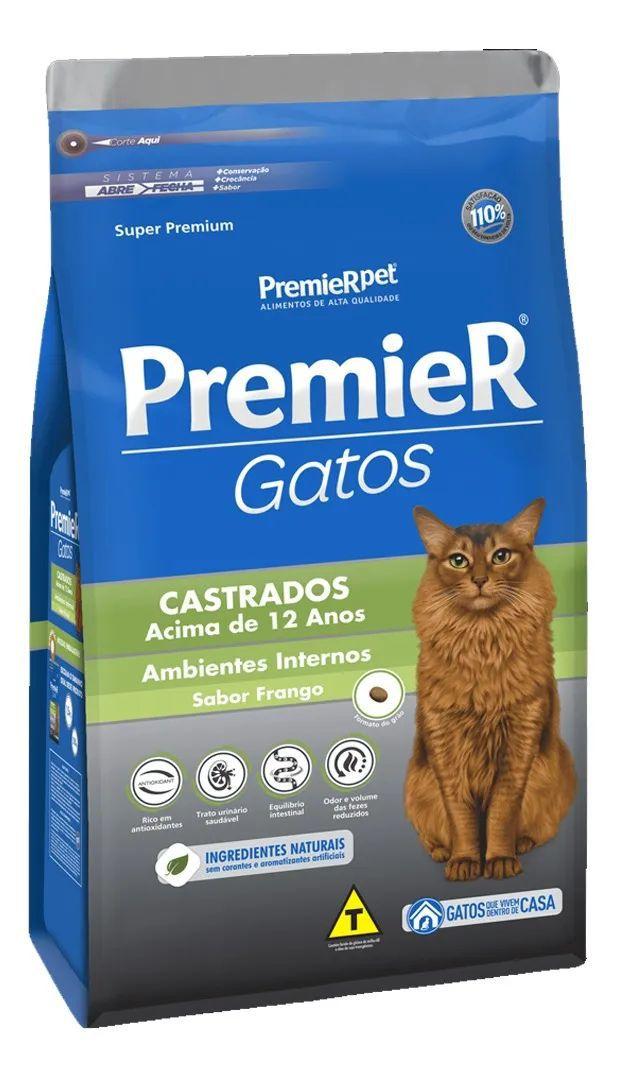 Ração Premier Gatos Castrados Frango Acima De 12 Anos 500g
