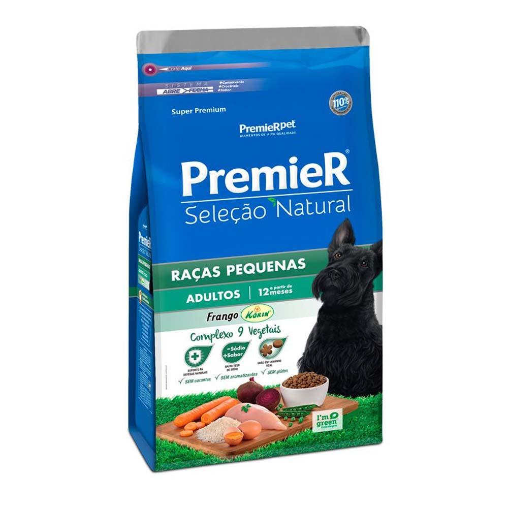 Premier Cães Seleção Natural Adultos Raças Pequenas sabor Frango Korin 1kg