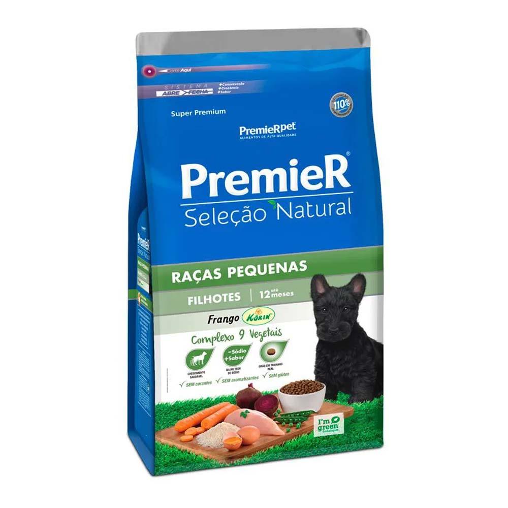 Premier Cães Seleção Natural Filhotes Raças Pequenas sabor Frango Korin 2,5kg