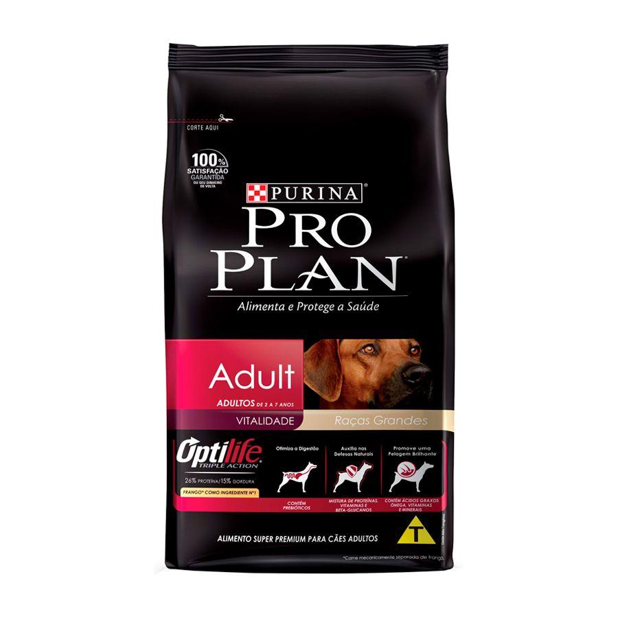 Ração Pro Plan Nestlé Purina para Cães Adultos de Raças Grandes Sabor Frango e Arroz