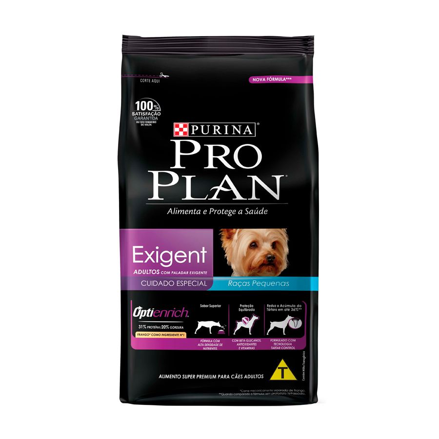 Ração Pro Plan Paladar Exigent para Cães Adultos Porte Pequeno sabor Frango e Arroz 2 kg