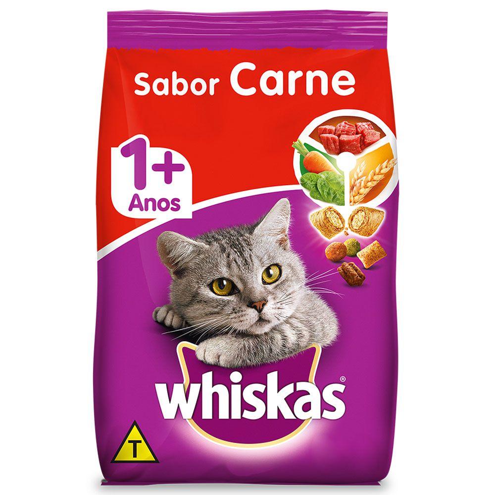 Ração Whiskas para Gatos Adultos 10,1kg - Sabor Carne 1+