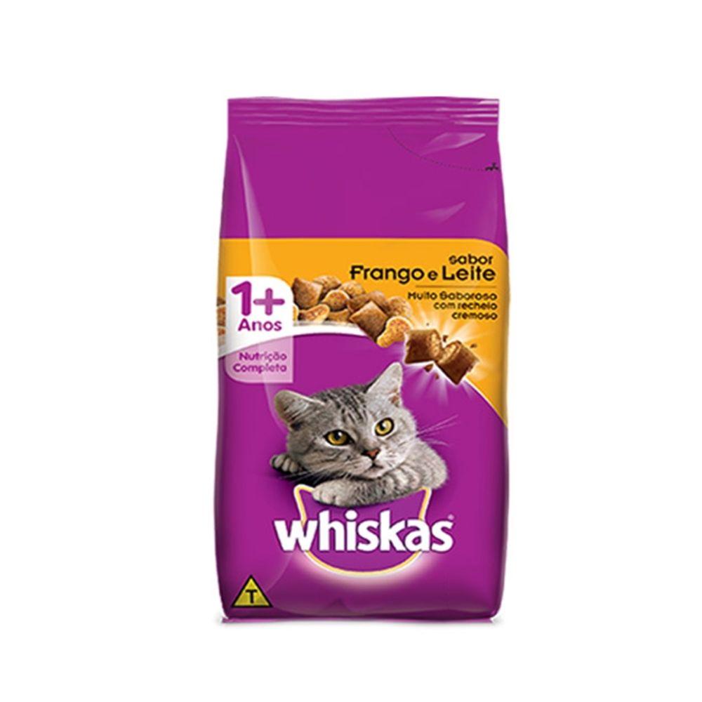 Ração Whiskas para Gatos Adultos Sabor Frango e Leite 1kg