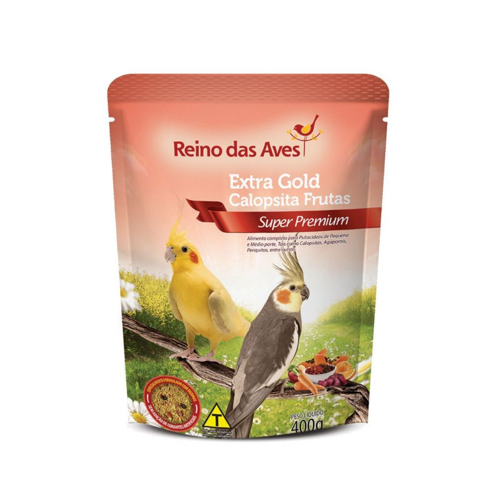 Reino das Aves Extra Gold Calopsita Frutas 400g