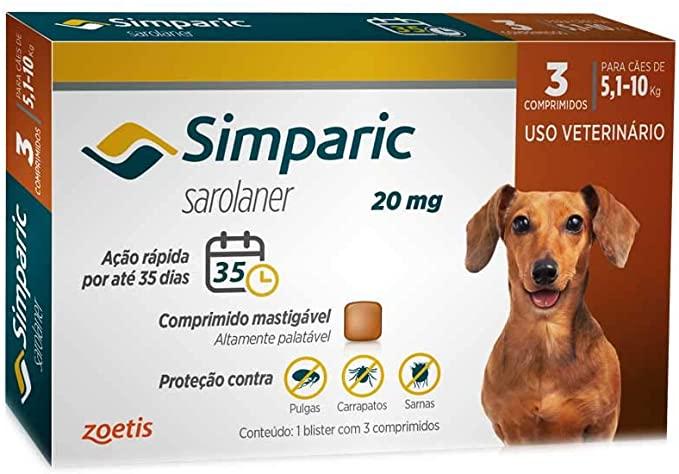 Simparic 20mg, 5,1 até 10kg, 03 Compr Zoetis para Cães