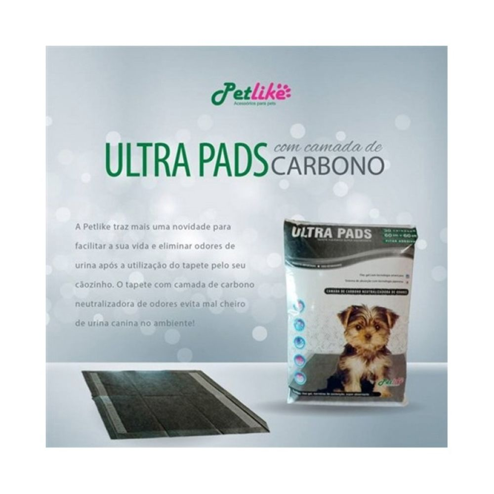 Tapete Higiênico Ultra Pads Camada De Carbono 60x60 30 Unidades