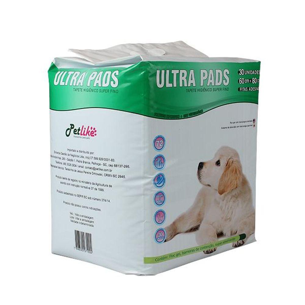 Tapete Higiênico Ultra Pads Petlike 60x80cm Com 30 Unidades