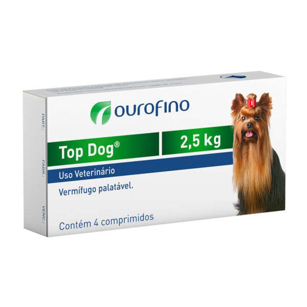 Vermífugo Top Dog Ourofino Para Cães Até 2,5kg - 4 Comprimidos