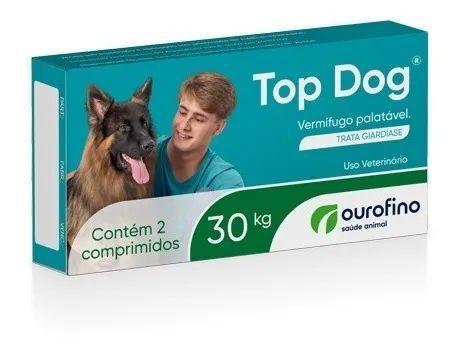 Vermifugo Top Dog Ourofino Para Cães Até 30kg - 2 Comprimidos
