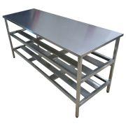 Mesa Aço Inox Industrial 180x70x90 cm Prateleiro Duplo Nortinox
