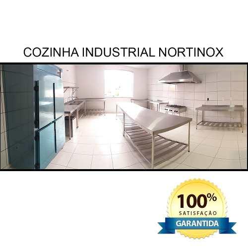 Mesa Aço Inox Profissional 110x70x90 cm com Espelho Nortinox