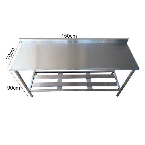 Mesa Aço Inox Profissional 150x70x90 cm com Espelho Nortinox