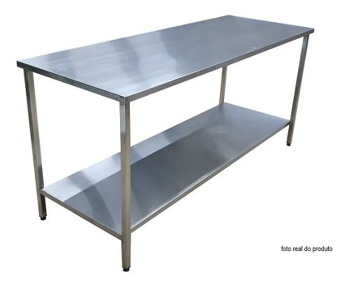 Mesa Aço Inox Industrial 190x70x90 cm Plano Liso Nortinox