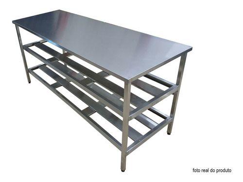 Mesa Aço Inox Industrial 190x70x90 cm Prateleiro Duplo Nortinox